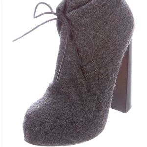 ALEXANDER WANG grey wool platform booties